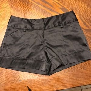 Black satin trouser shorts